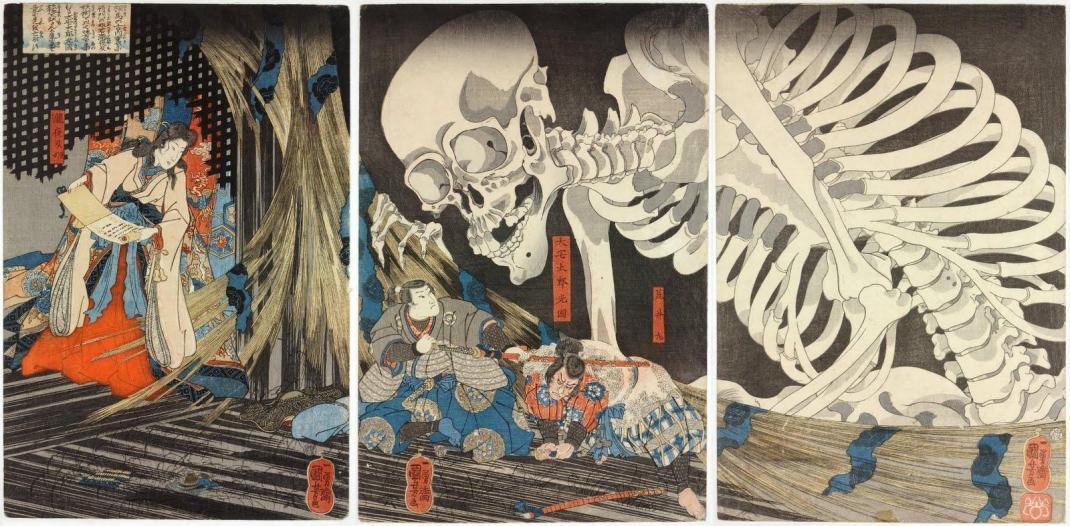 Utagawa Kuniyoshi - Princess Takiyasha summons a skeleton spectre to frighten Mitsukuni [1844]