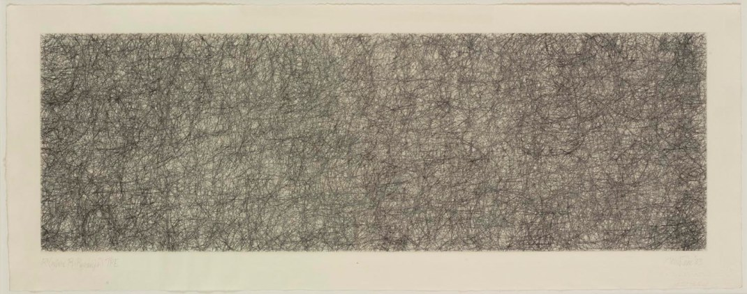 "John Cage | R3 (from the Where R=Ryoanji series), 1983, drypoint, Image Size- 7 x 21-1_2″, Paper Size- 23-1_4 x "", Edition 9-1_4"